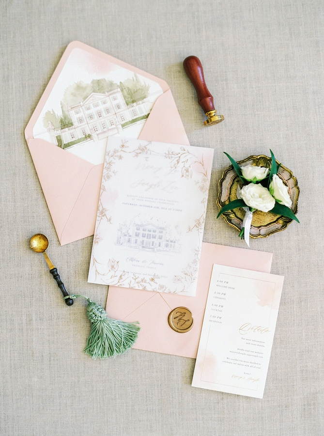 Stationery Chateau de Tourreau Romantic Wedding in Provence