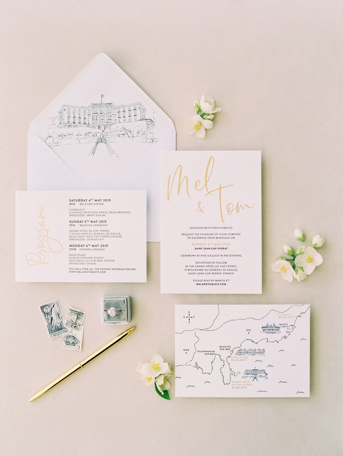 stationery wedding saint jean cap ferrat